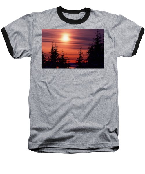 Sunset And Trees Two  Baseball T-Shirt by Lyle Crump