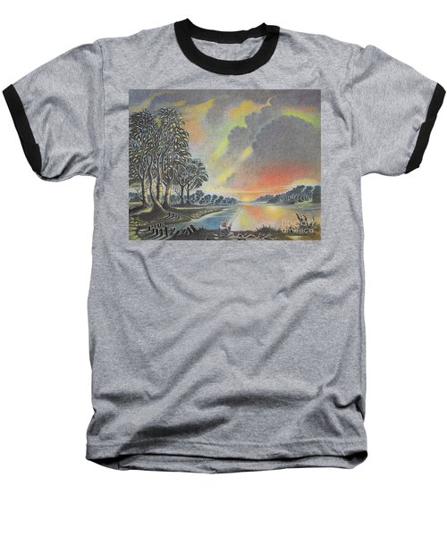Sunset Angler Baseball T-Shirt