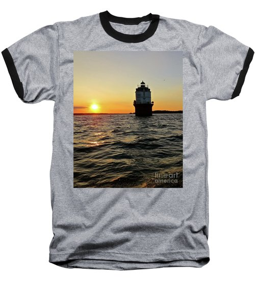Baseball T-Shirt featuring the photograph Sunset At Baltimore Light  by Nancy Patterson