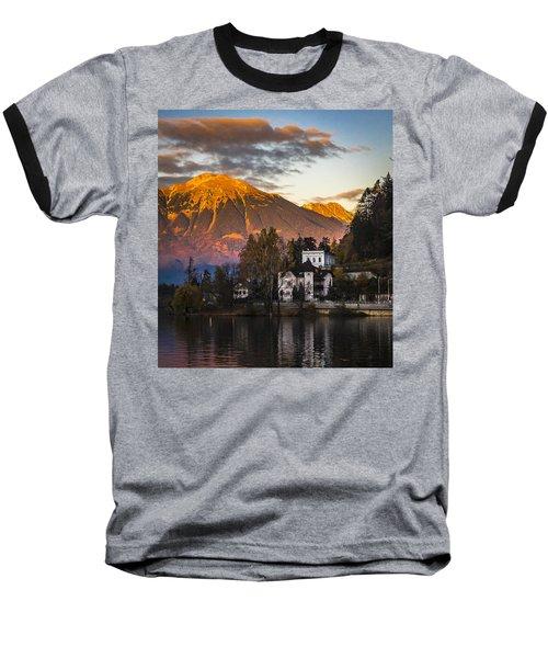 Sunset At Bled Baseball T-Shirt
