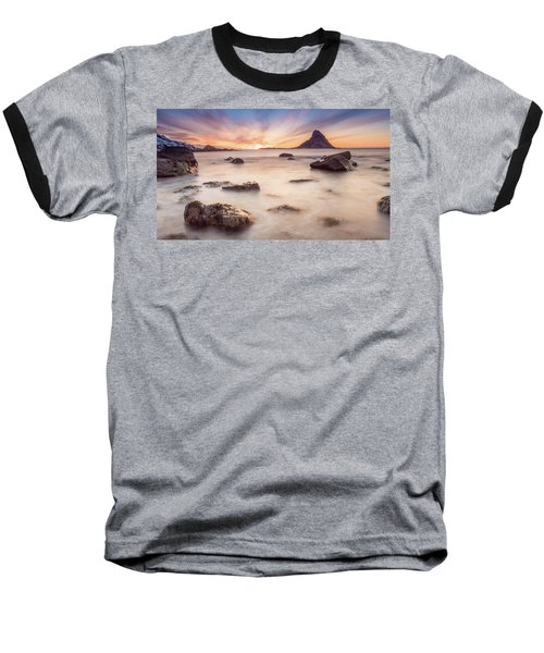 Sunset At Bleik Baseball T-Shirt