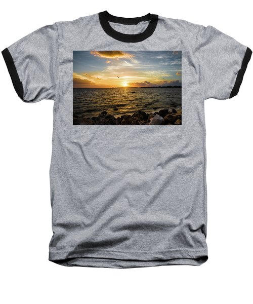 Sunset At Cedar Key Baseball T-Shirt by Rebecca Hiatt
