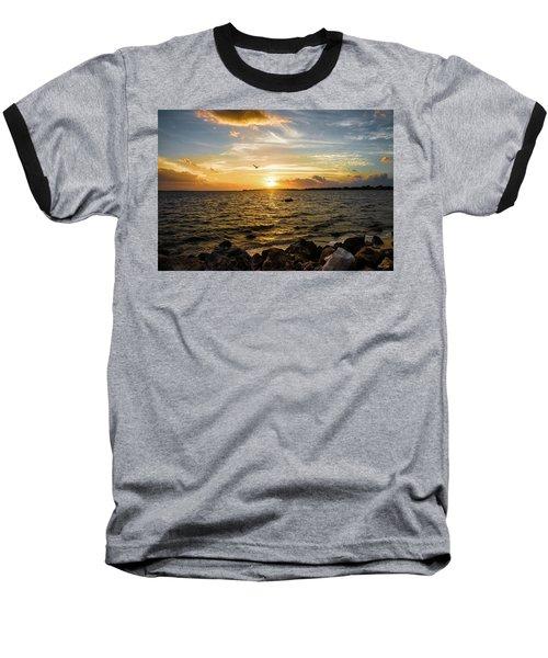 Sunset At Cedar Key Baseball T-Shirt