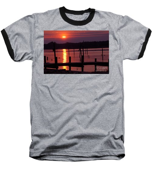Sunset At Colonial Beach Baseball T-Shirt