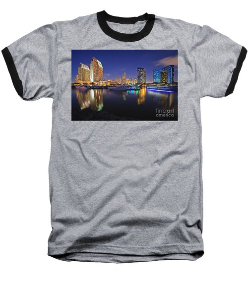 Sunset At Embarcadero Marina Park In San Diego Baseball T-Shirt