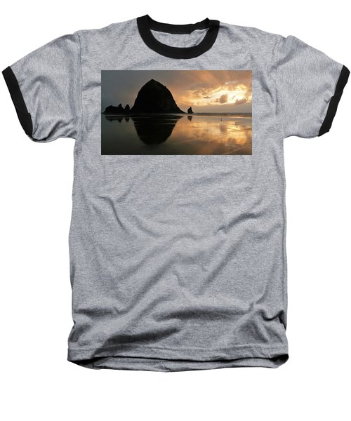 Sunset At Haystack Rock Baseball T-Shirt