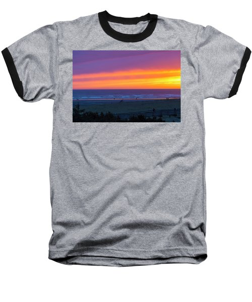 Sunset At Long Beach Washington Baseball T-Shirt