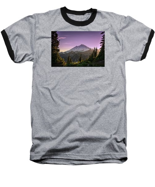 Sunset At Mt. Baker Baseball T-Shirt