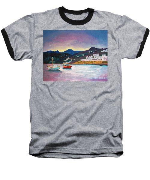 Sunset At Mykonos Baseball T-Shirt