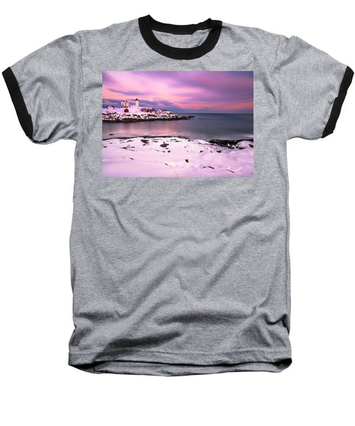 Baseball T-Shirt featuring the photograph Sunset At Nubble Lighthouse In Maine In Winter Snow by Ranjay Mitra