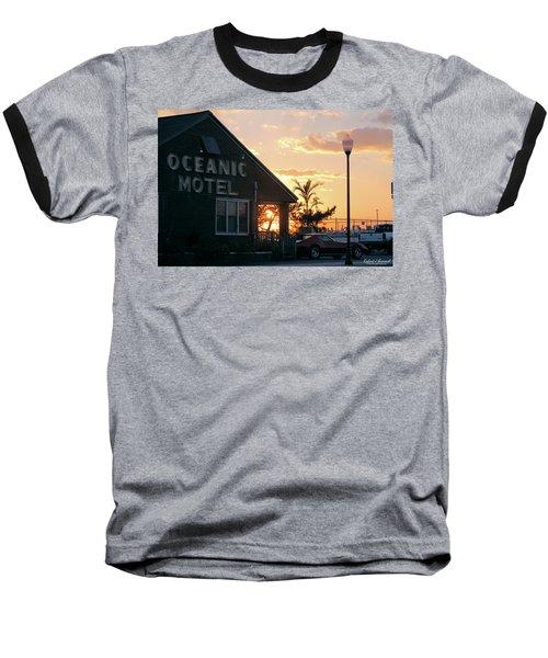 Sunset At Oceanic Motel Baseball T-Shirt