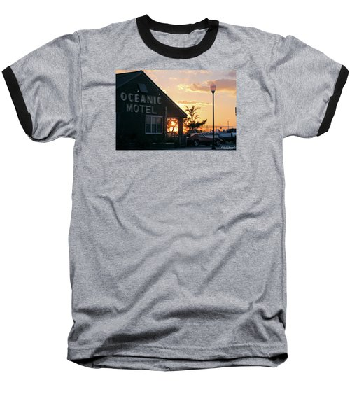 Sunset At Oceanic Motel Baseball T-Shirt