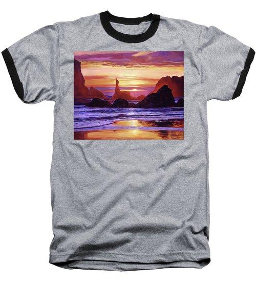 Sunset At Oregon Rocks Baseball T-Shirt