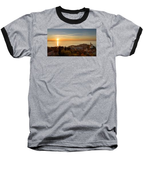 Sunset At Piran Baseball T-Shirt by Robert Krajnc