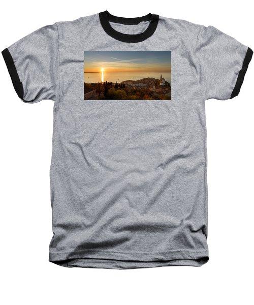 Sunset At Piran Baseball T-Shirt