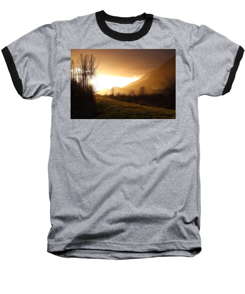 Sunset At Pitt Lake Dyke Baseball T-Shirt