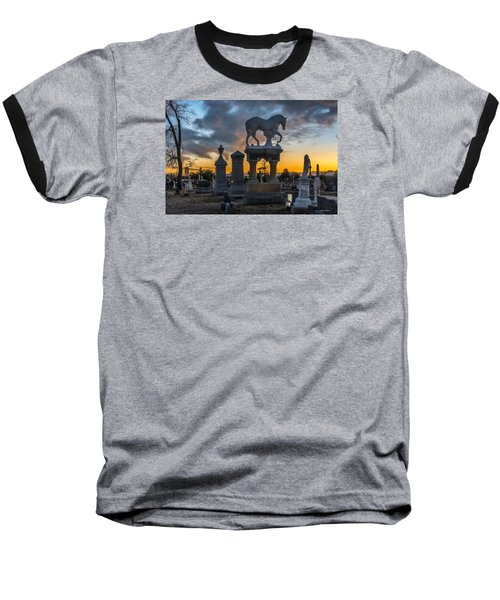 Baseball T-Shirt featuring the photograph Sunset At Riverside Cemetery by Stephen  Johnson