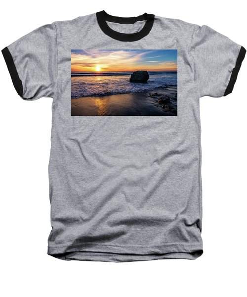 Sunset At San Simeon Beach Baseball T-Shirt