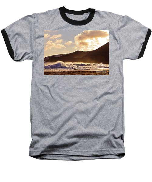 Sunset At Sandy Beach Baseball T-Shirt by Kristine Merc