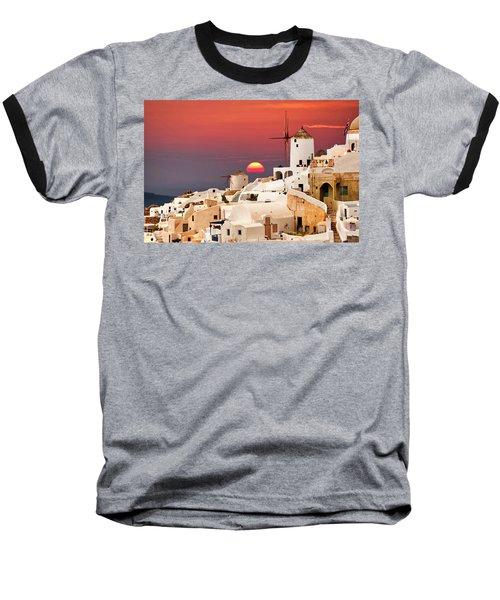 sunset at Santorini Baseball T-Shirt