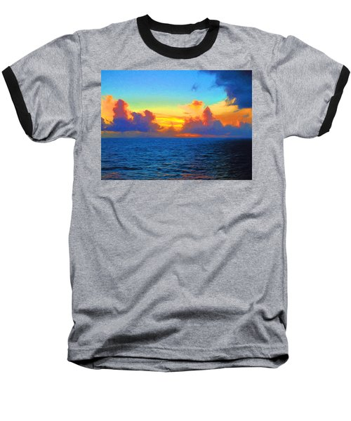 Sunset At Sea Baseball T-Shirt by Greg Norrell