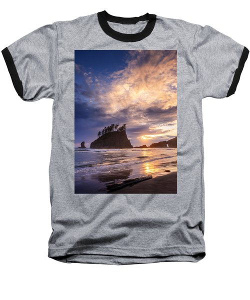 Sunset At Second Beach Baseball T-Shirt