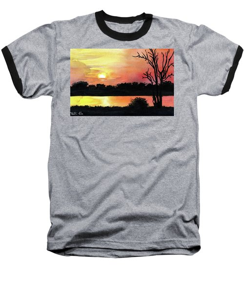 Baseball T-Shirt featuring the painting Sunset At Shire River In Malawi by Dora Hathazi Mendes