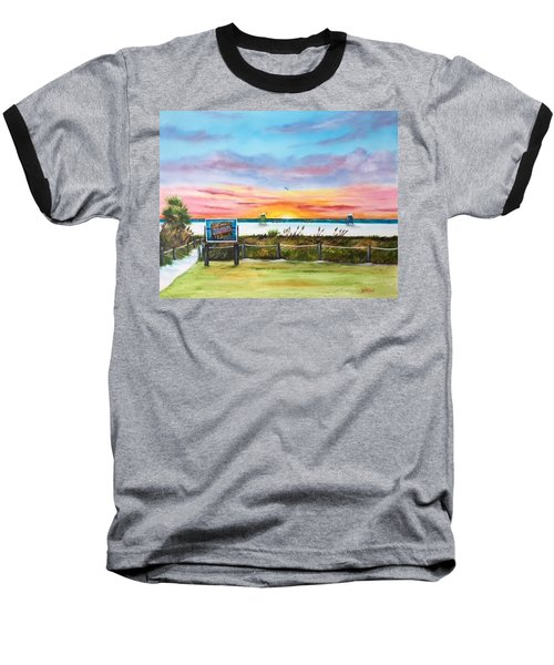 Sunset At Siesta Key Public Beach Baseball T-Shirt