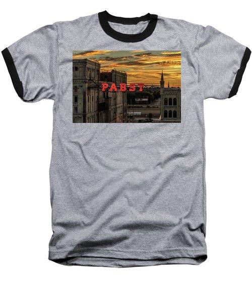 Sunset At The Brewery Baseball T-Shirt by Randy Scherkenbach