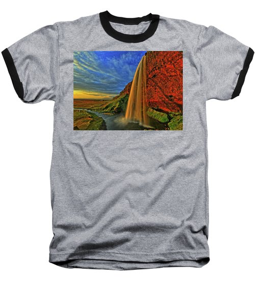 Baseball T-Shirt featuring the photograph Sunset At The Falls by Scott Mahon