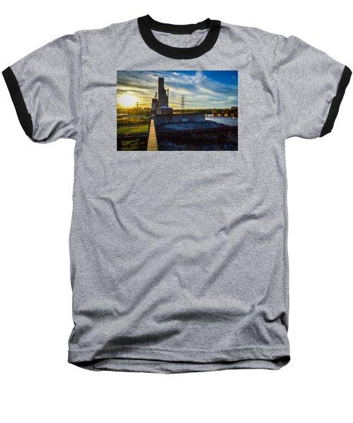 Sunset At The Flood Wall Baseball T-Shirt