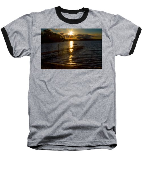 Sunset At The Lake Baseball T-Shirt