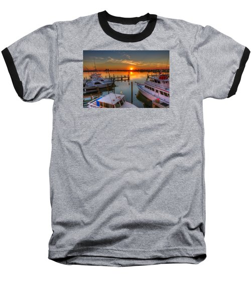 Sunset At The Marina Baseball T-Shirt by Tim Stanley