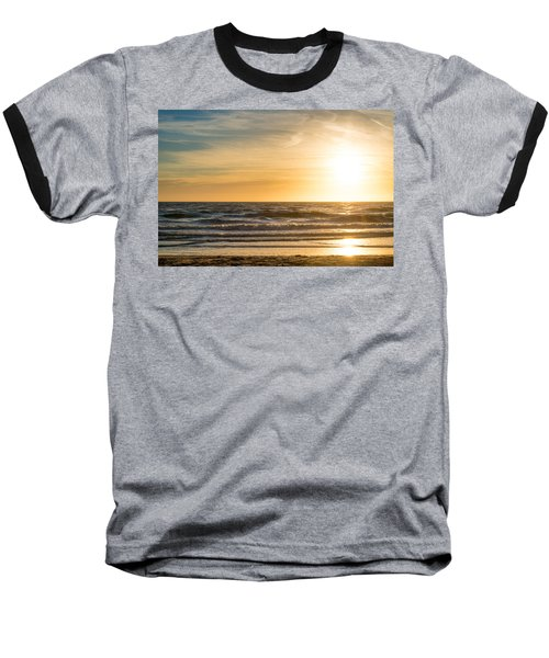 Baseball T-Shirt featuring the photograph sunset at the North Sea by Hannes Cmarits