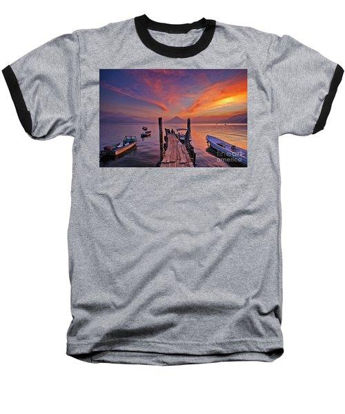 Sunset At The Panajachel Pier On Lake Atitlan, Guatemala Baseball T-Shirt