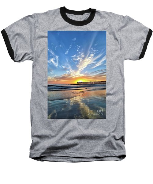 Sunset At The Pismo Beach Pier Baseball T-Shirt by Vivian Krug Cotton