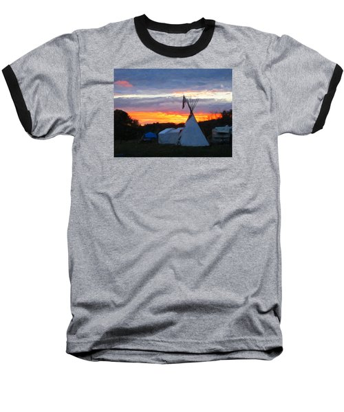 Baseball T-Shirt featuring the photograph Sunset At The Powwow by Spyder Webb