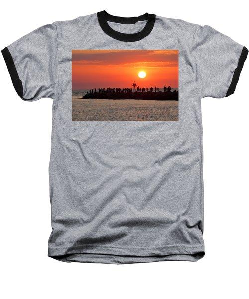 Sunset At The South Jetty, Venice, Florida, Usa Baseball T-Shirt