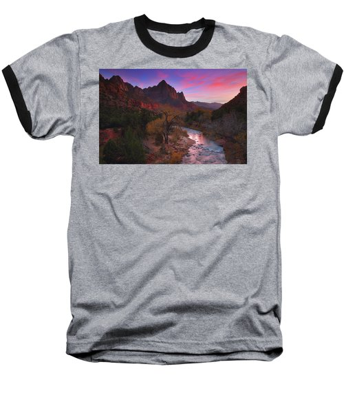Sunset At The Watchman During Autumn At Zion National Park Baseball T-Shirt