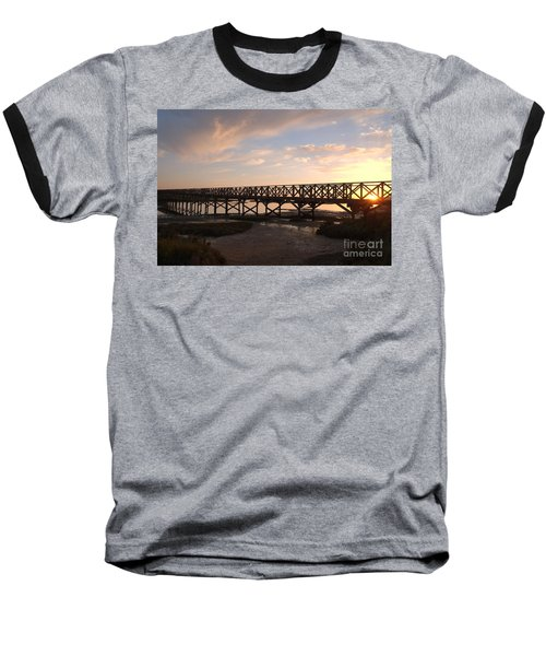 Sunset At The Wooden Bridge Baseball T-Shirt