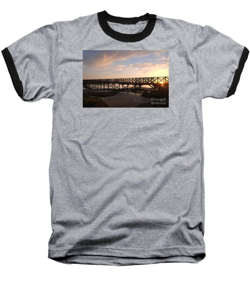 Sunset At The Wooden Bridge Baseball T-Shirt