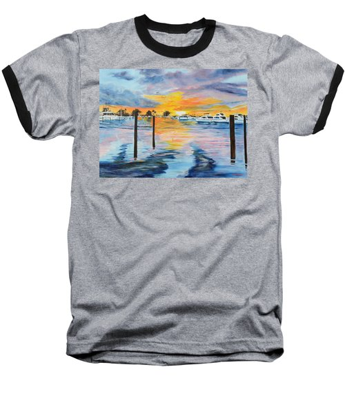 Sunset At The Yacht Club Baseball T-Shirt