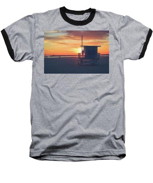 Sunset At Toes Beach Baseball T-Shirt