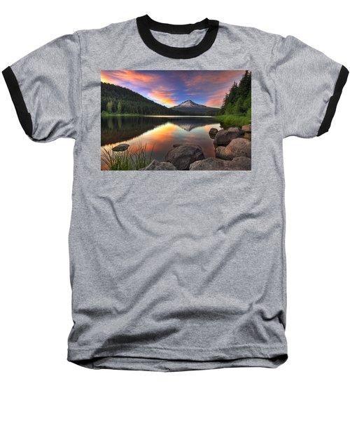 Sunset At Trillium Lake With Mount Hood Baseball T-Shirt