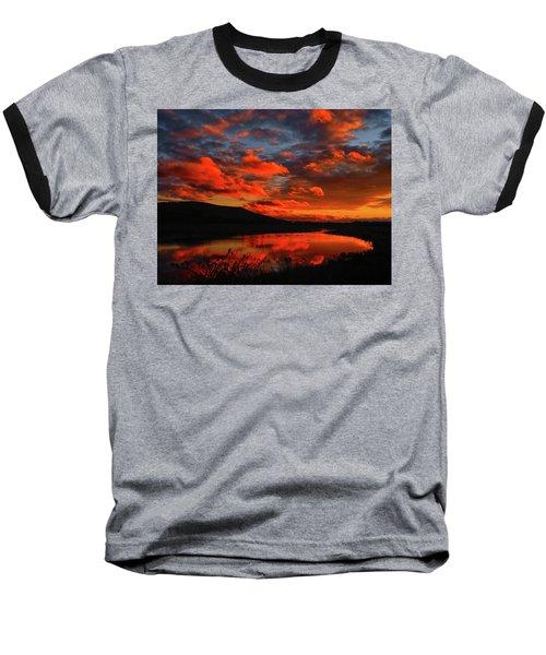 Sunset At Wallkill River National Wildlife Refuge Baseball T-Shirt by Raymond Salani III