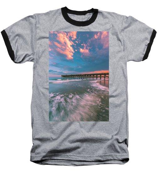 Sunset At Wilmington Crystal Pier In North Carolina Baseball T-Shirt