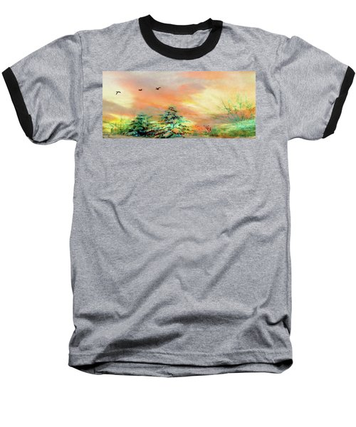Baseball T-Shirt featuring the painting Sunset At Winter Wonderland by Mike Breau