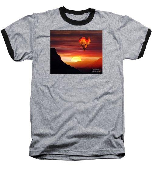 Sunset Balloon Ride Baseball T-Shirt by Zedi
