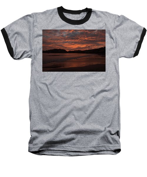 Sunset Beach Baseball T-Shirt by Jim Walls PhotoArtist