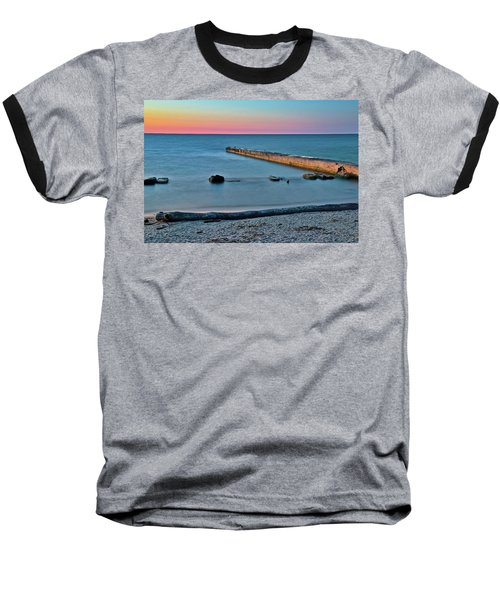 Baseball T-Shirt featuring the photograph Sunset Beach On Lake Erie by Frozen in Time Fine Art Photography